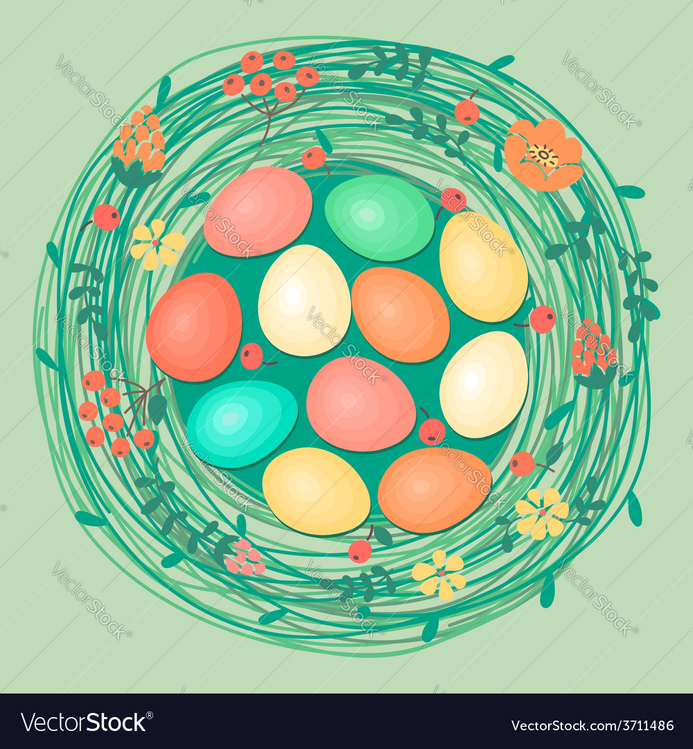 Happy easter card with colored eggs in nest