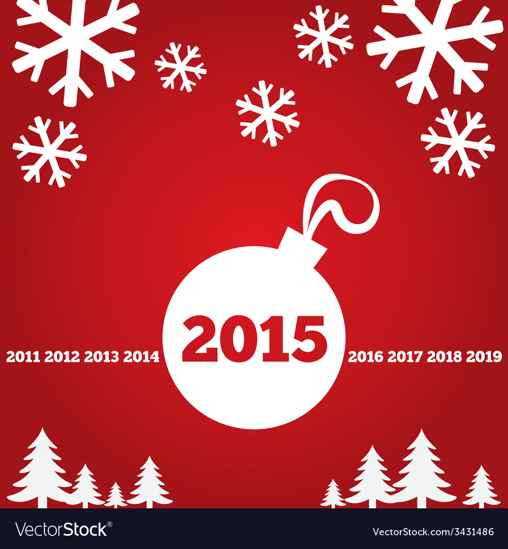 Happy New Year Greetings Card With Flat Icons Vector Image
