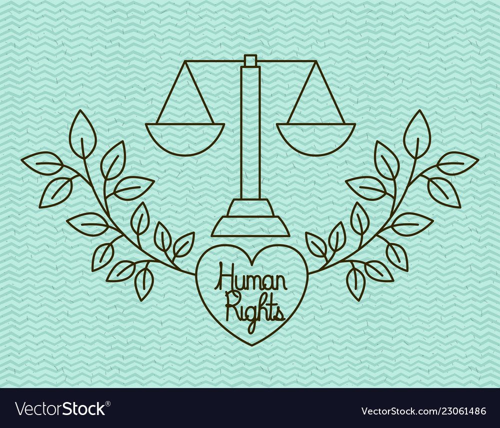 Heart With Wreath Human Rights Drawns Royalty Free Vector