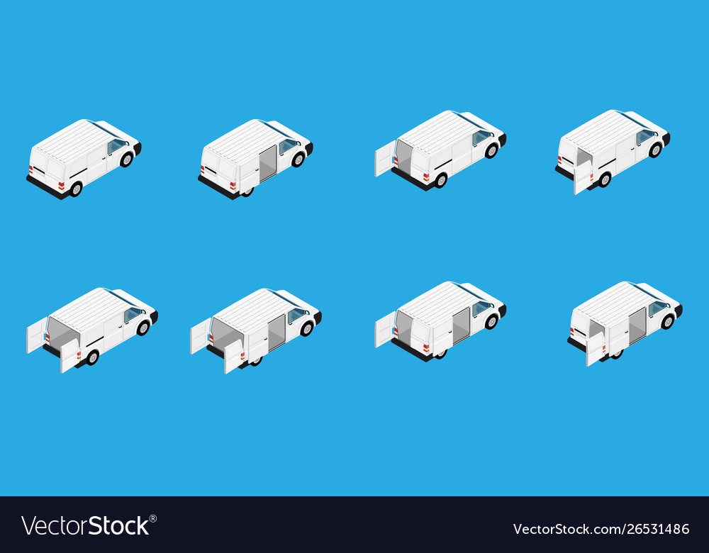 Hi-detailed cargo delivery van set isometric view