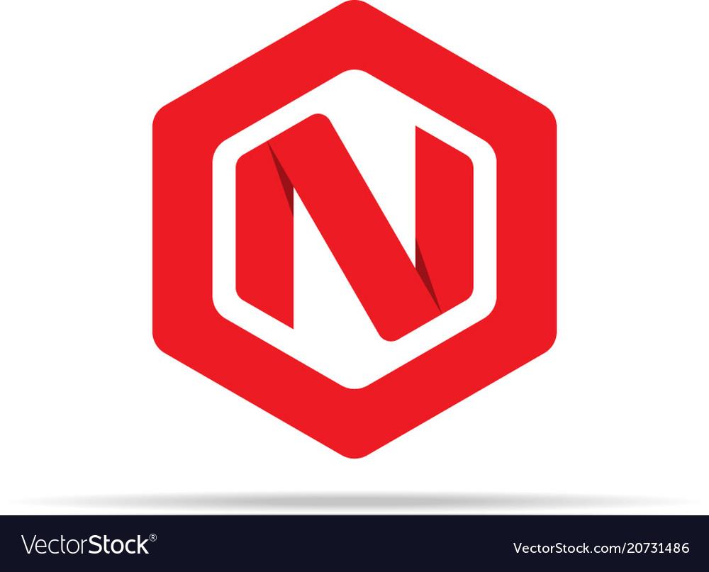 Letter n logo icon in polygon hexagonal shape
