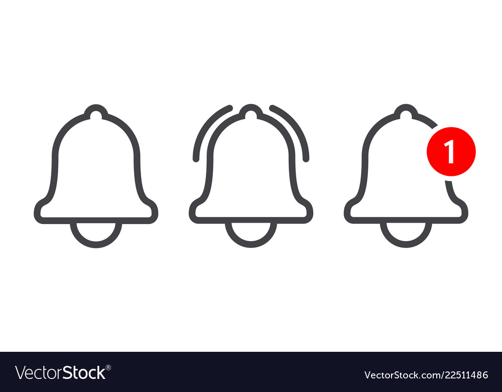 Notification message bell vector line icon