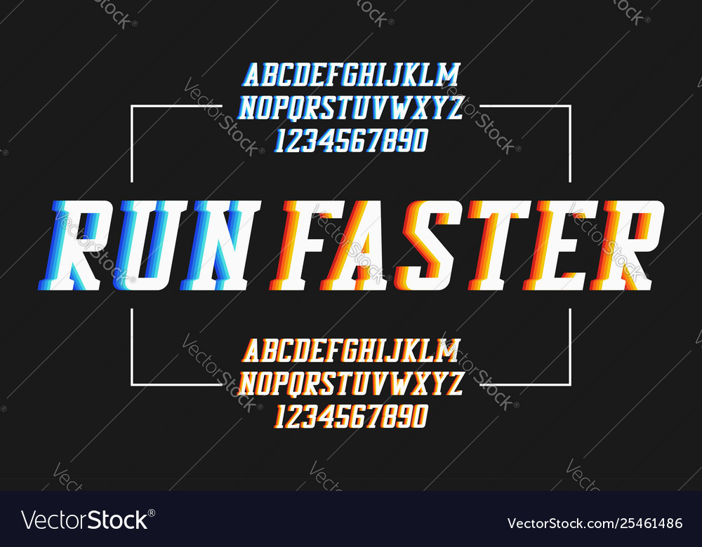 Retro sport font with colorful overlap effect