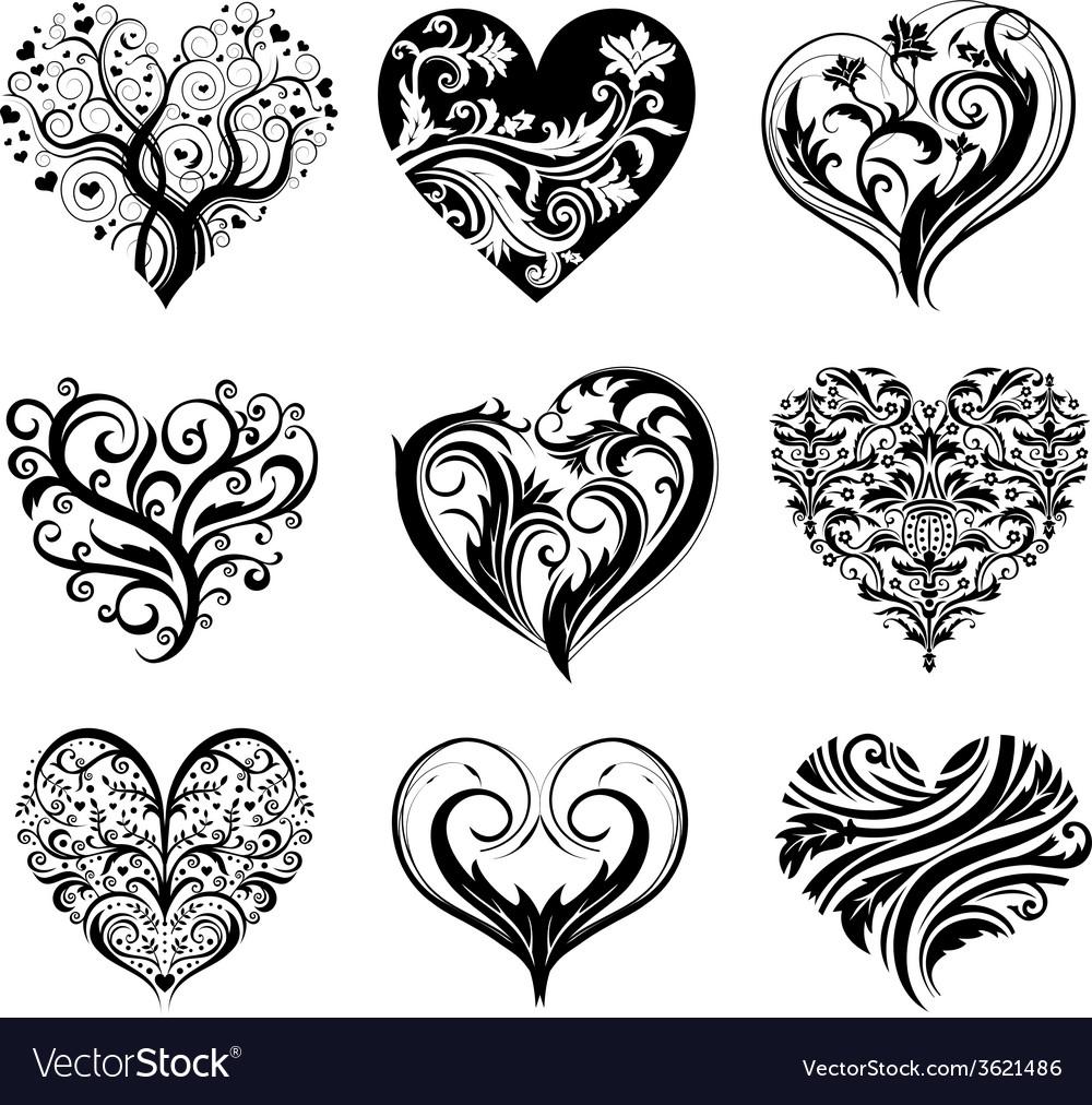 Tattoo hearts vector image