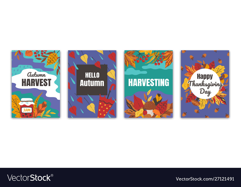 Autumn posters flyers and greeting cards with