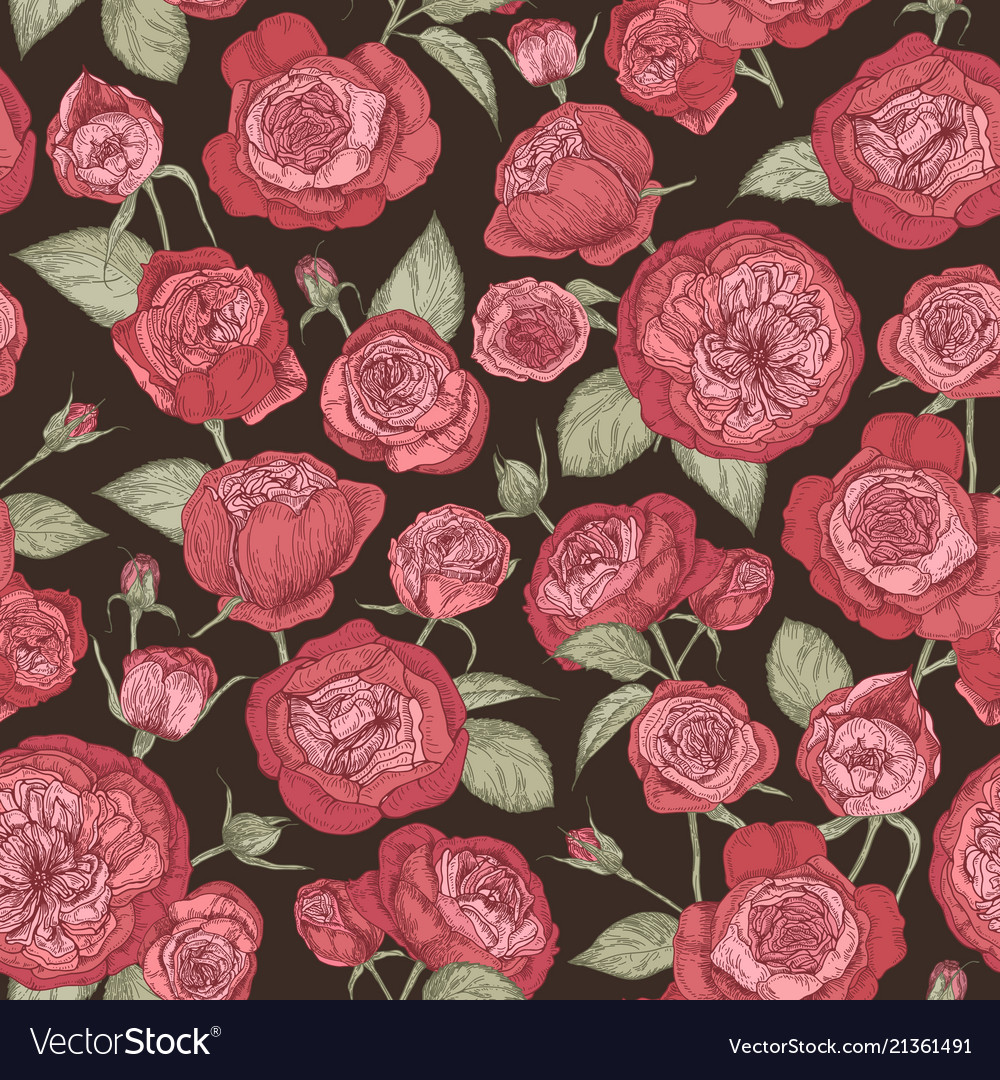 Beautiful romantic seamless pattern with blooming