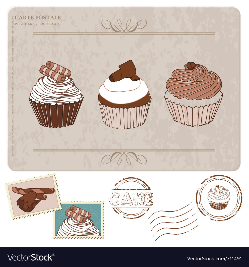 Cupcakes postcard with stamps