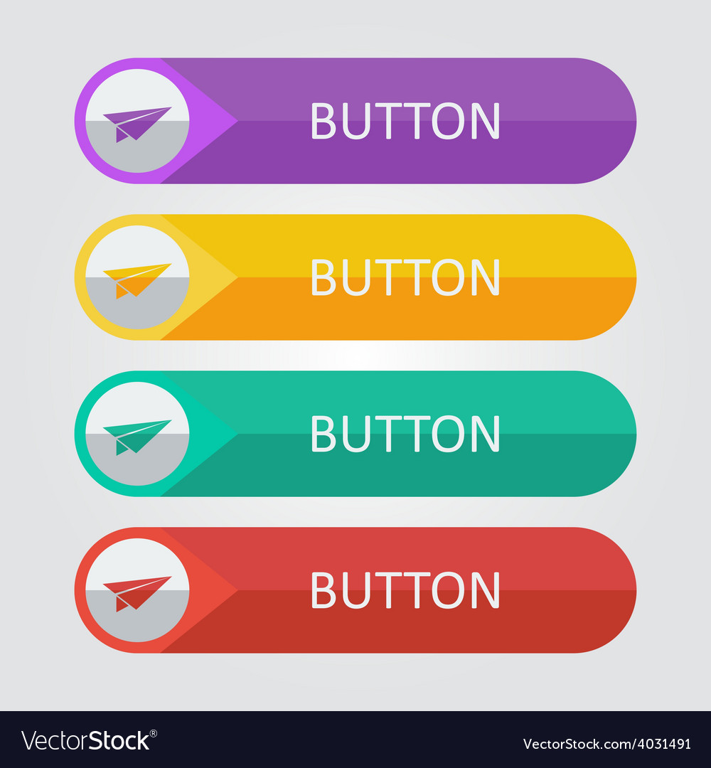 Flat buttons with paper plane icon