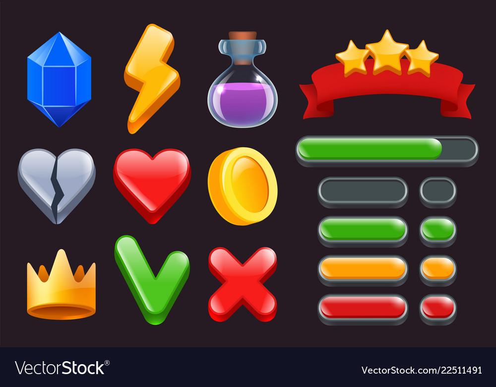 Game ui kit icons stars colored ribbons menus and