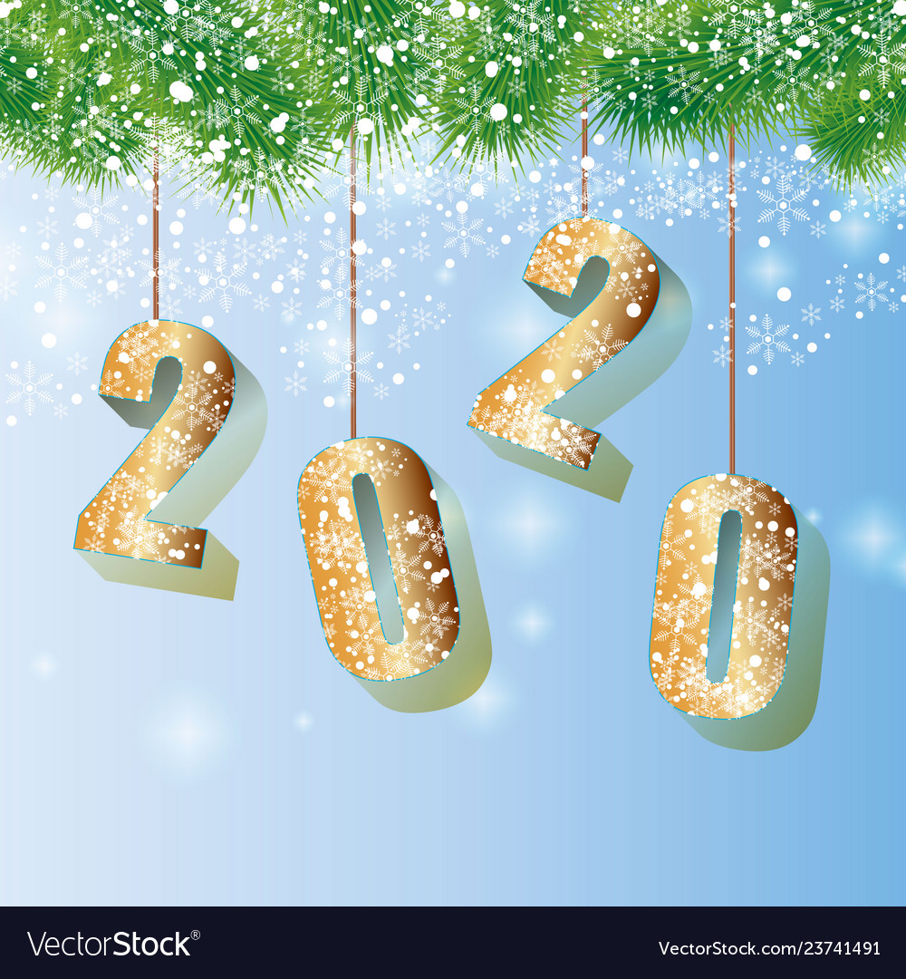 Happy 2020 new year card with fir branch
