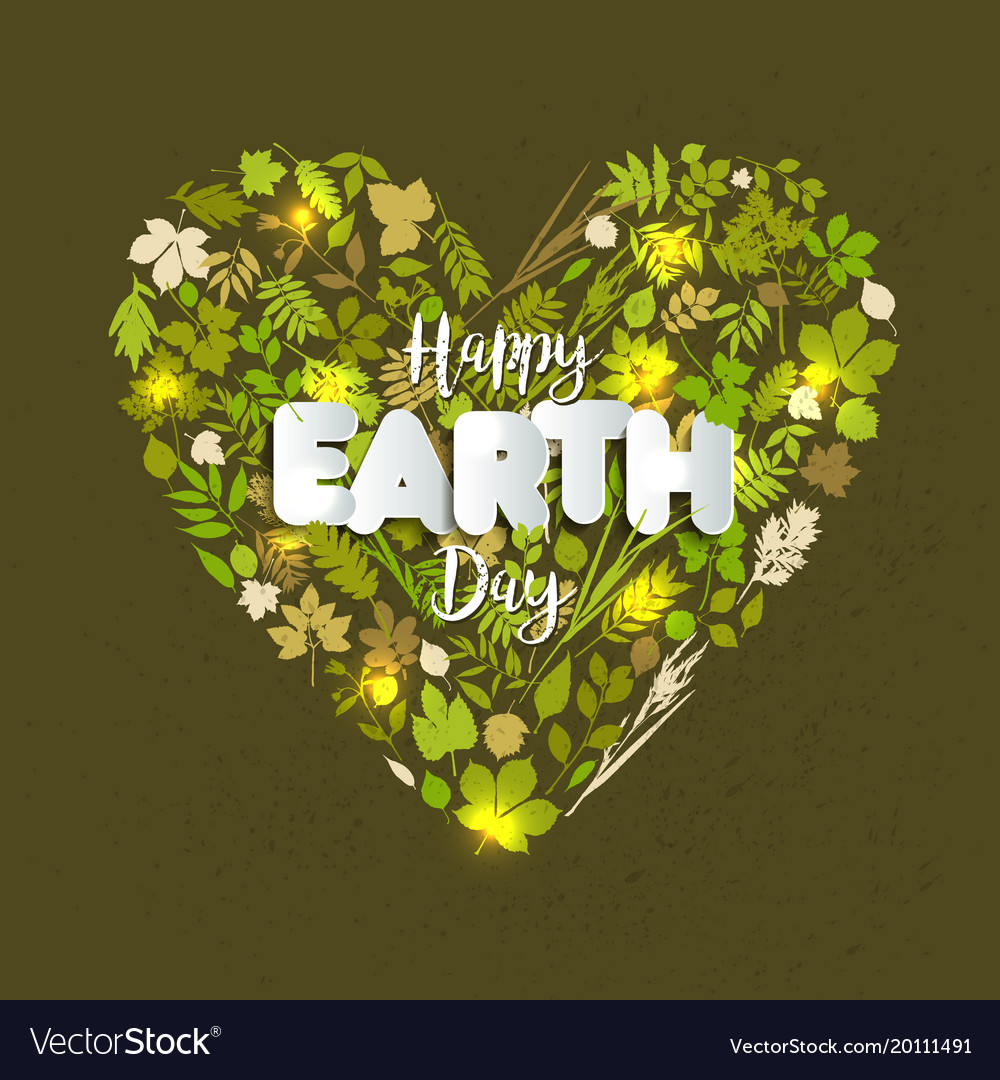 Happy earth day card celebration in april with