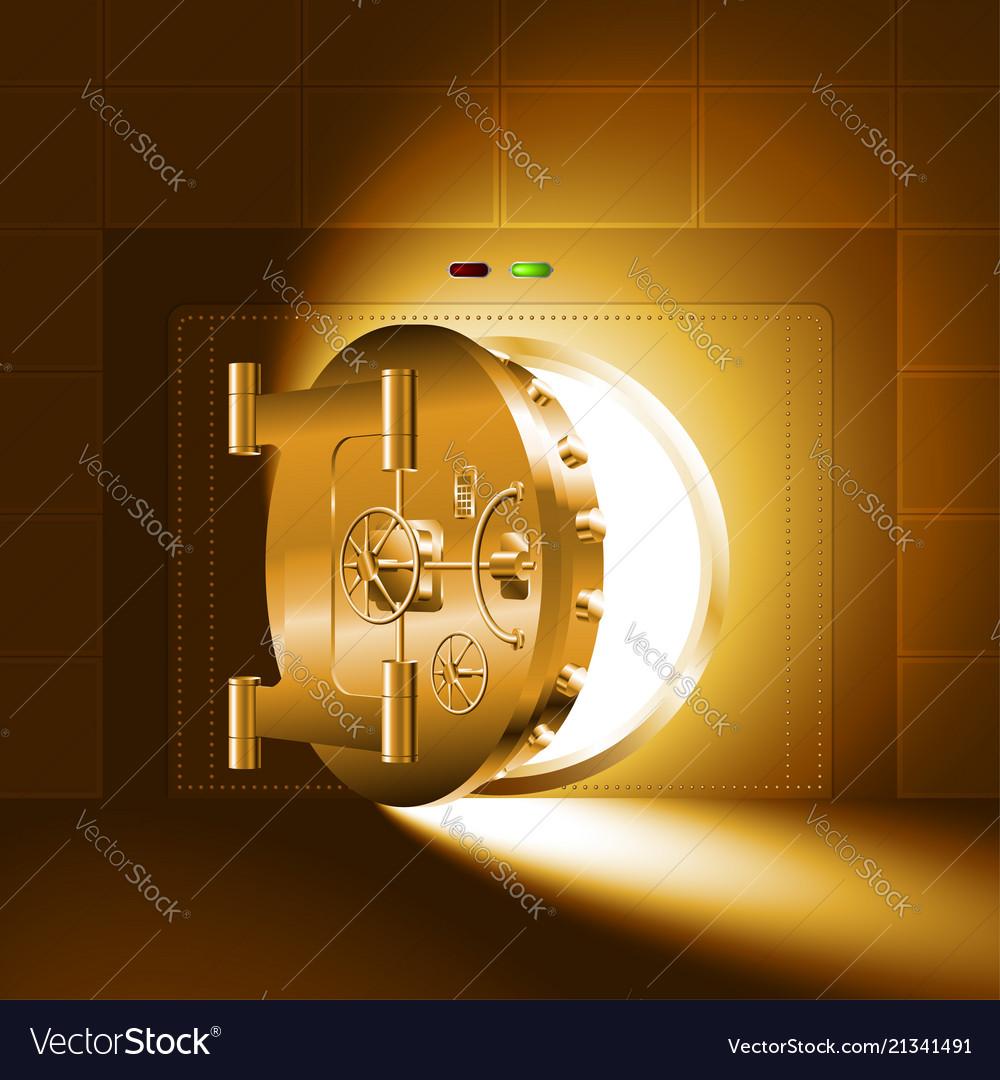 Light Half Open Door Safe Gold Vector Image