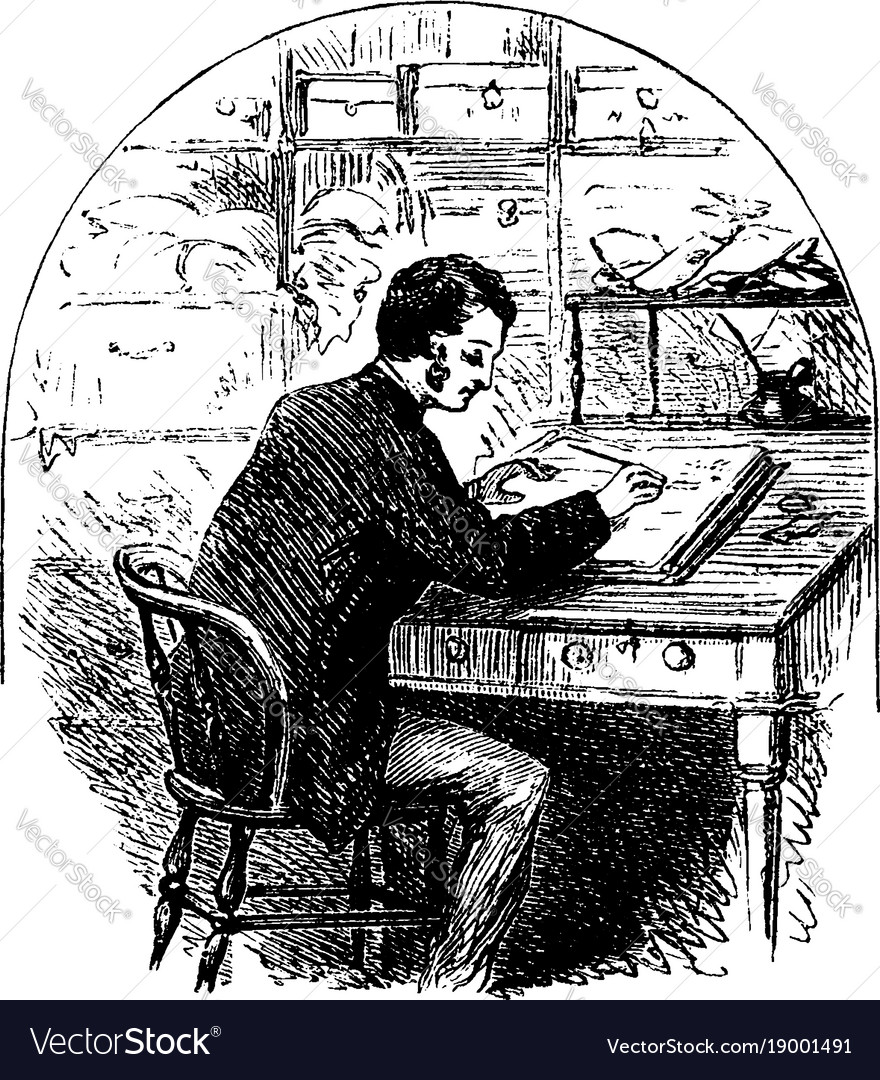 Man sitting at desk writing in journal or person vector image