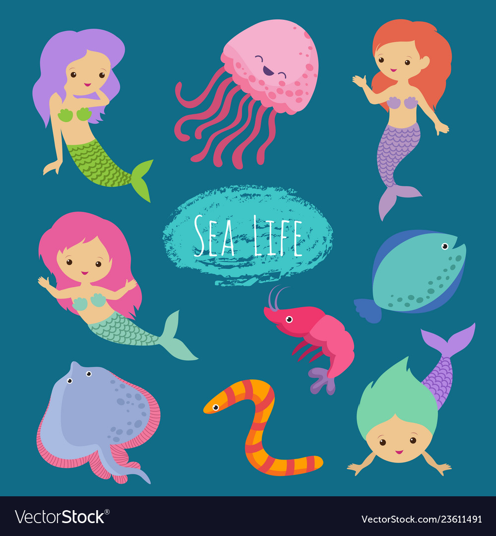 Sea life cartoon character animals and mermaids