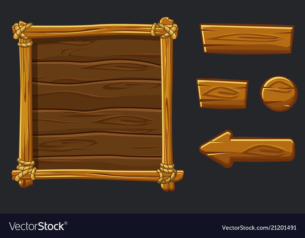 Set cartoon wood assets interface and buttons for