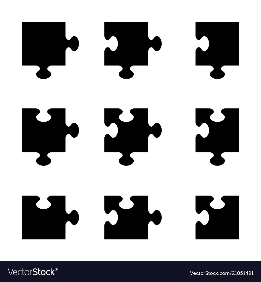 Set of black jigsaw puzzle pieces