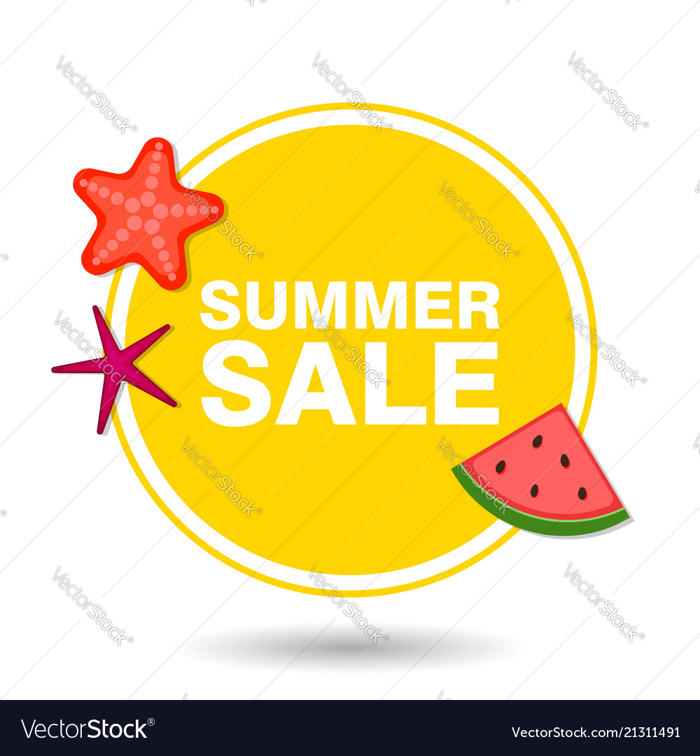 Summer sale in circle with icons