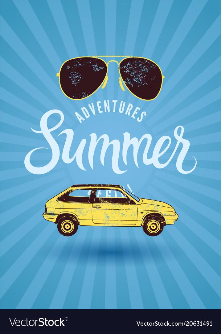 Summer typographic vintage grunge poster design
