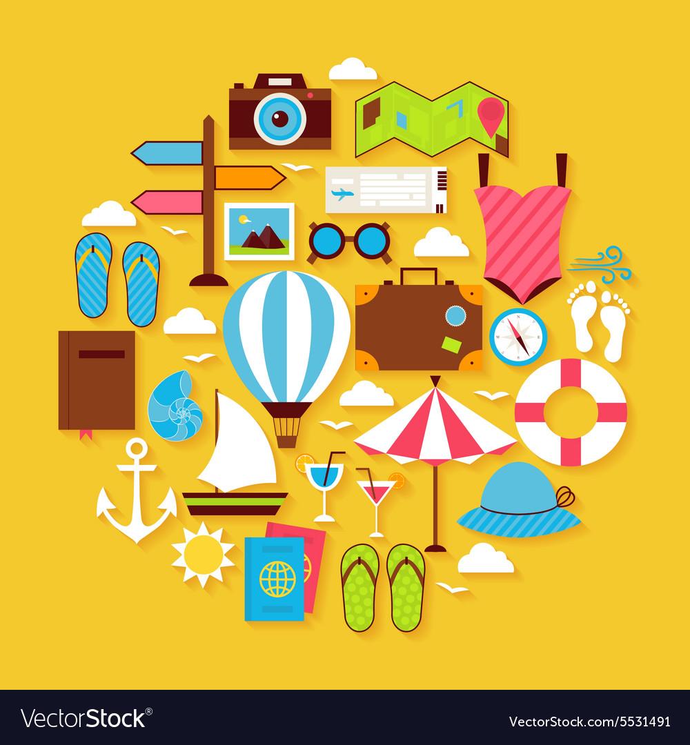 Summer Vacation and Travel Flat Design Circle