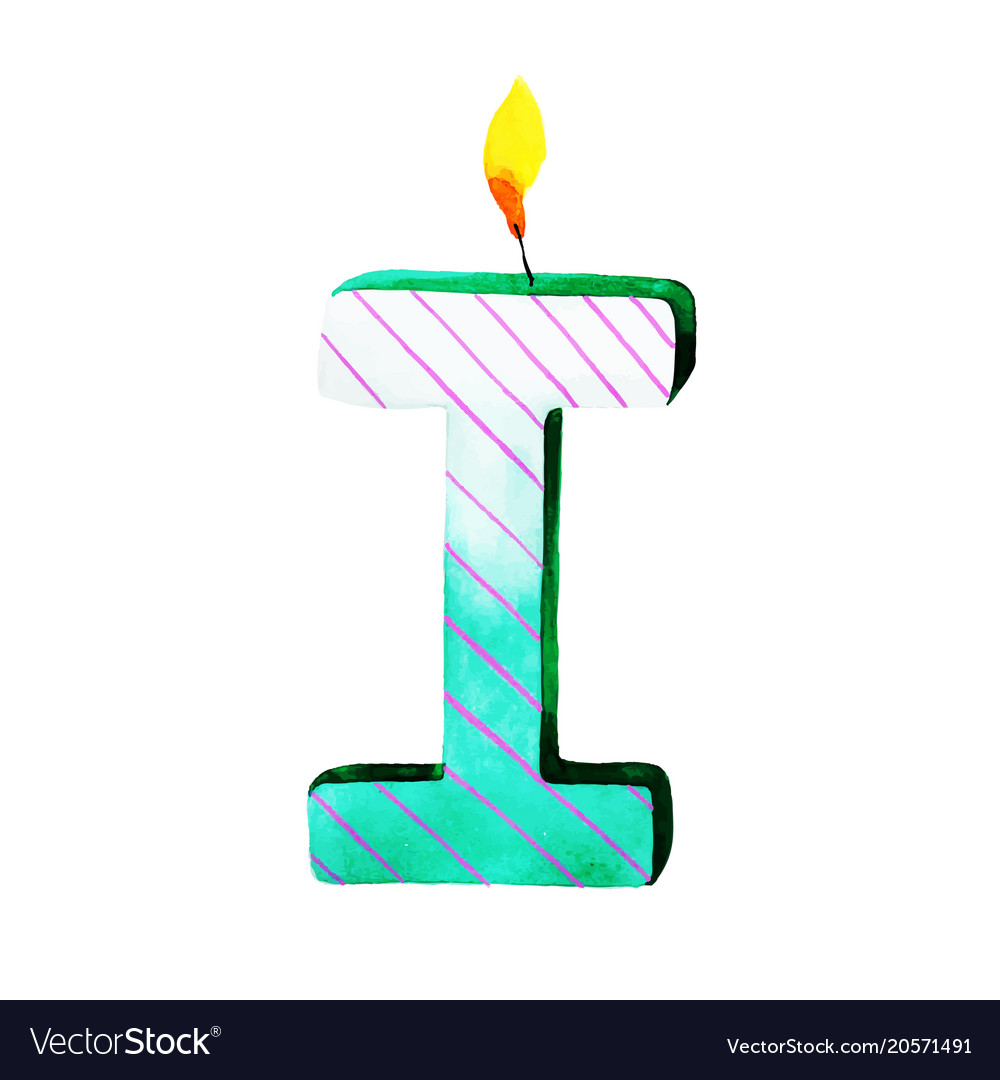 watercolor happy birthday letter i candle vector image