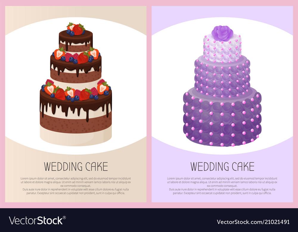 Wedding cakes set sweet bakery posters text