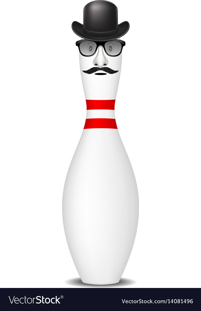 Bowling pin with bowler hat mustache and glasses