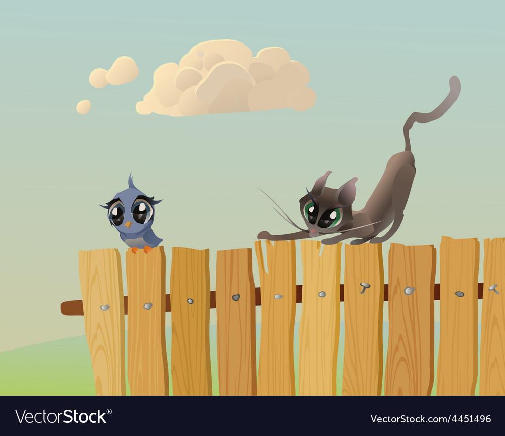 Cat hunts a bird