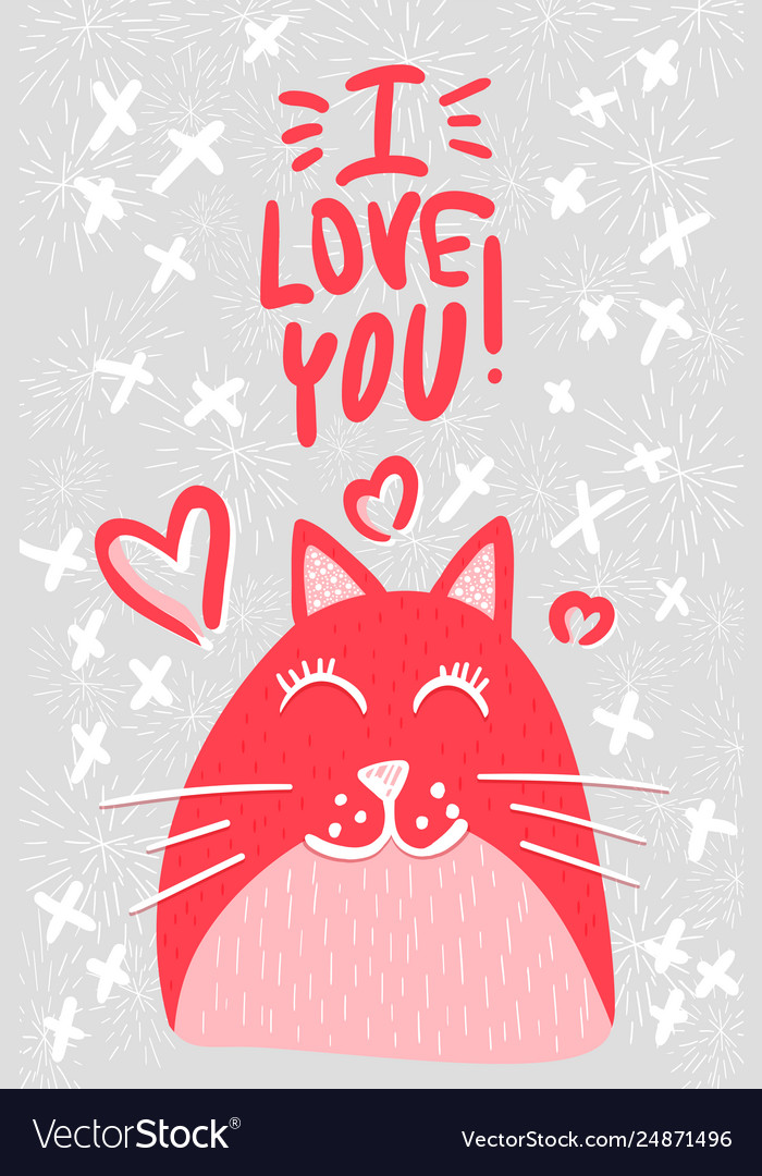 Cute cat in love flat character