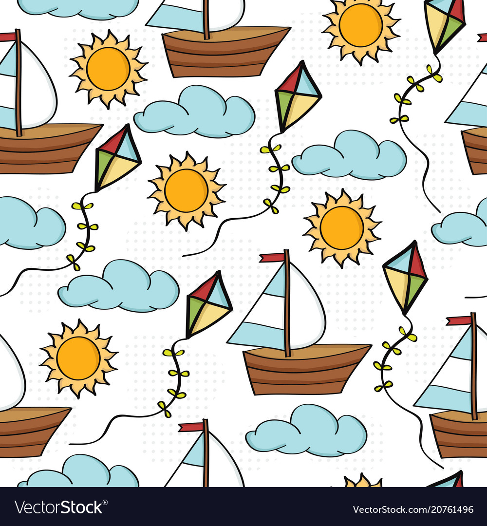Doodle cartoon seamless pattern summer holiday vector image