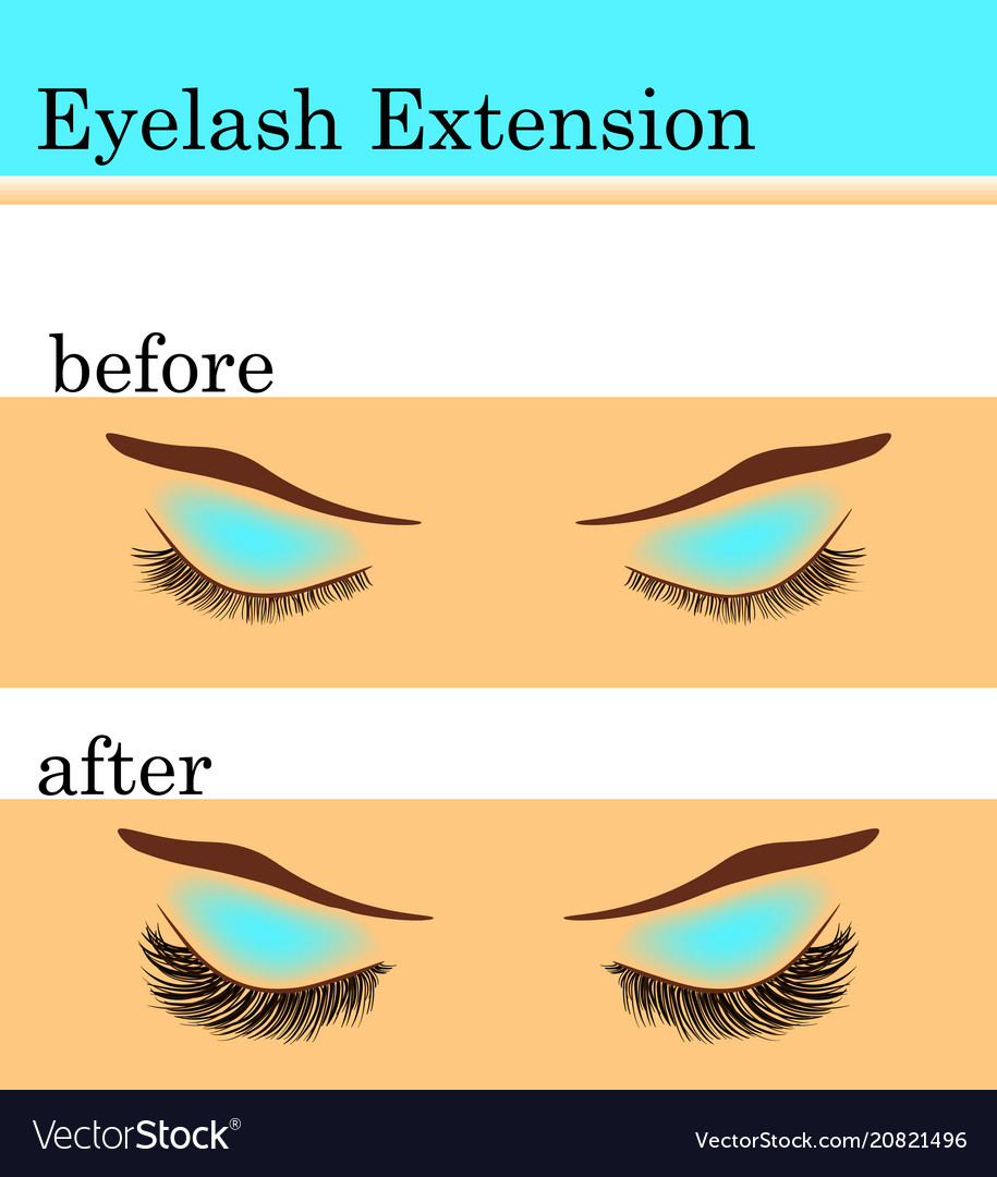 Eyelash extension before and after vector image
