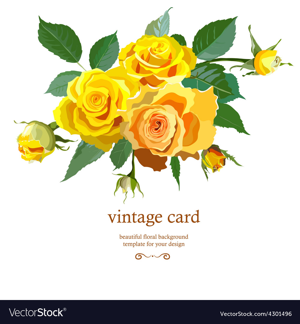 Floral background with yellow roses royalty free vector floral background with yellow roses vector image mightylinksfo