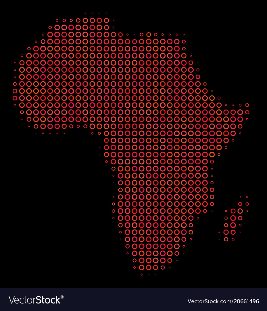 Halftone red africa map Royalty Free Vector Image