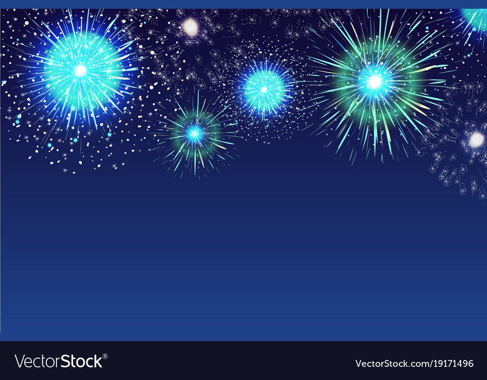 horizontal blue background with fireworks vector image rh vectorstock com Firework Rocket Vector Fireworks Vector Transparent