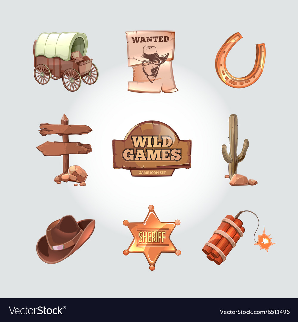 Icons for Wild West computer game Cowboy