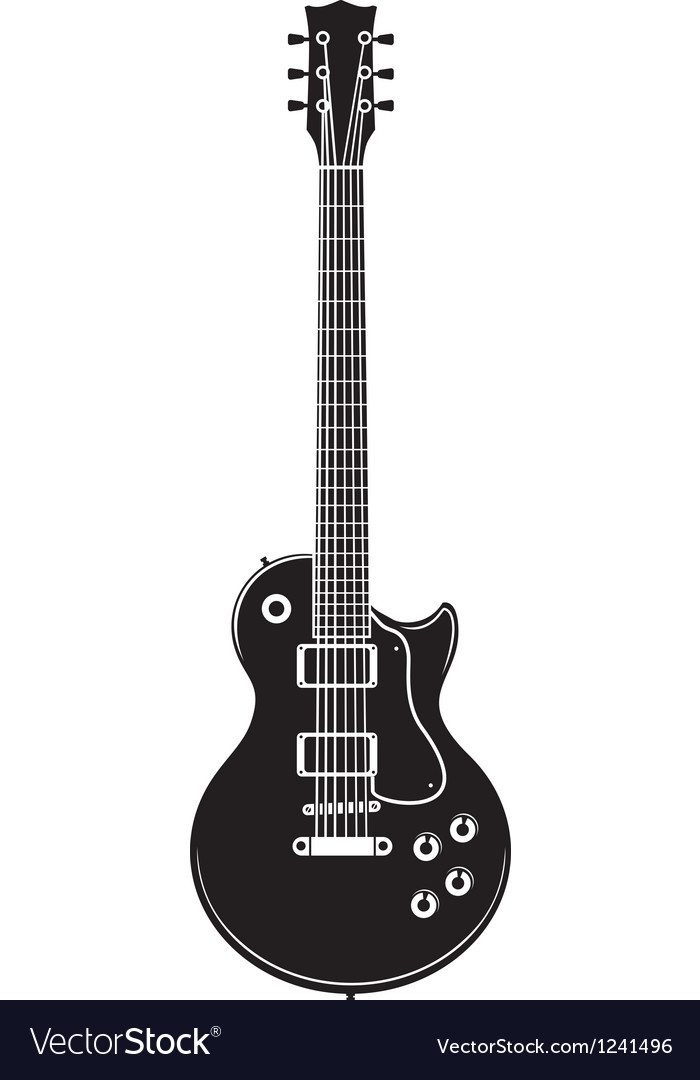 Old rock guitar vector image