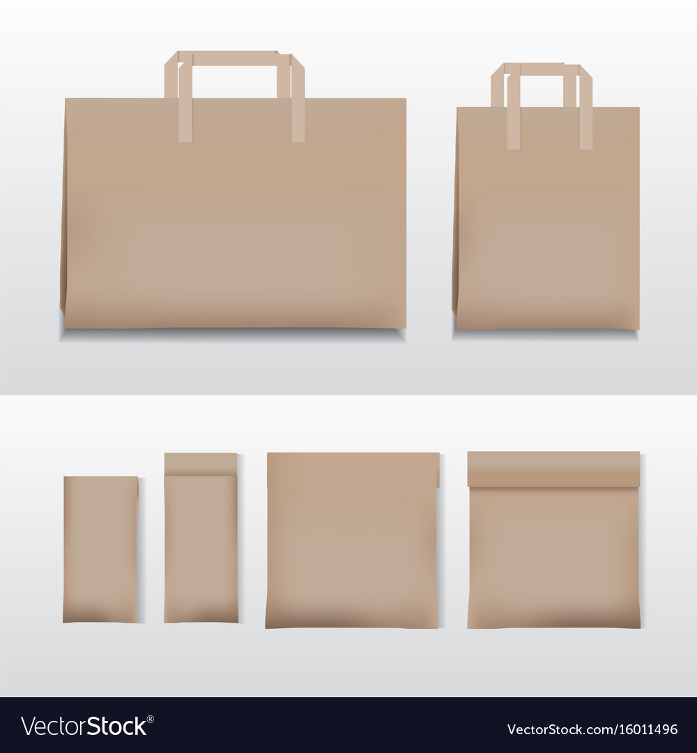 Paper Ping Bag Brown Various Sizes Vector Image