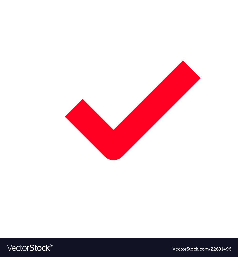 Red Tick Checkmark Icon Royalty Free Vector Image