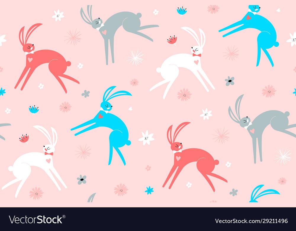 Seamless childish pattern with hand drawn rabbits