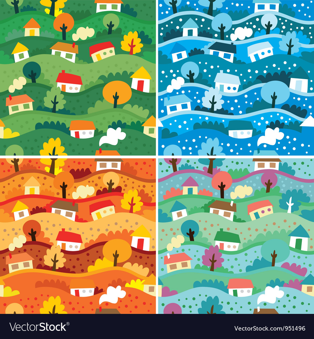 Seamless patterns with 4 seasons vector image