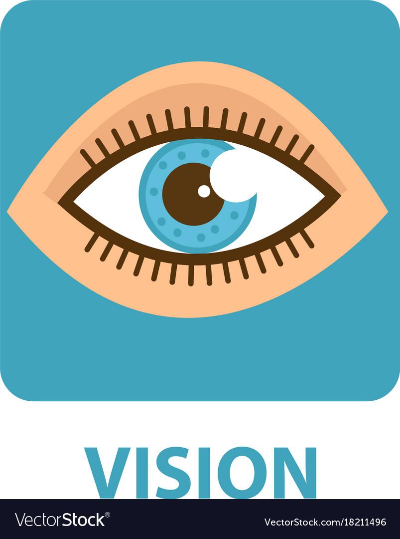 Sense of vision flat style icon eye isolated on