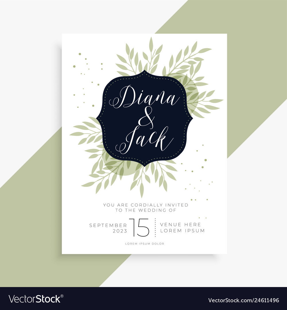 Simple green leaves wedding invitation template Vector Image