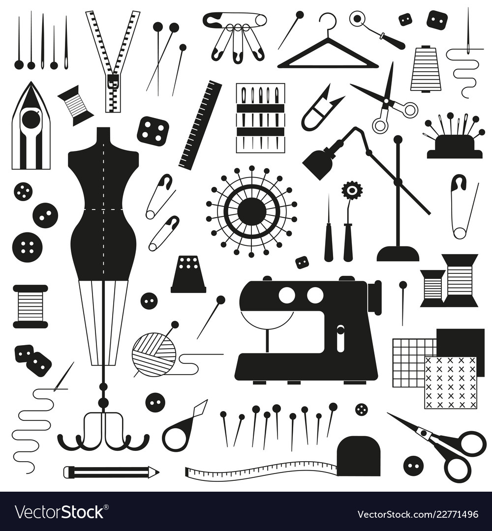 Tailoring and sewing icons