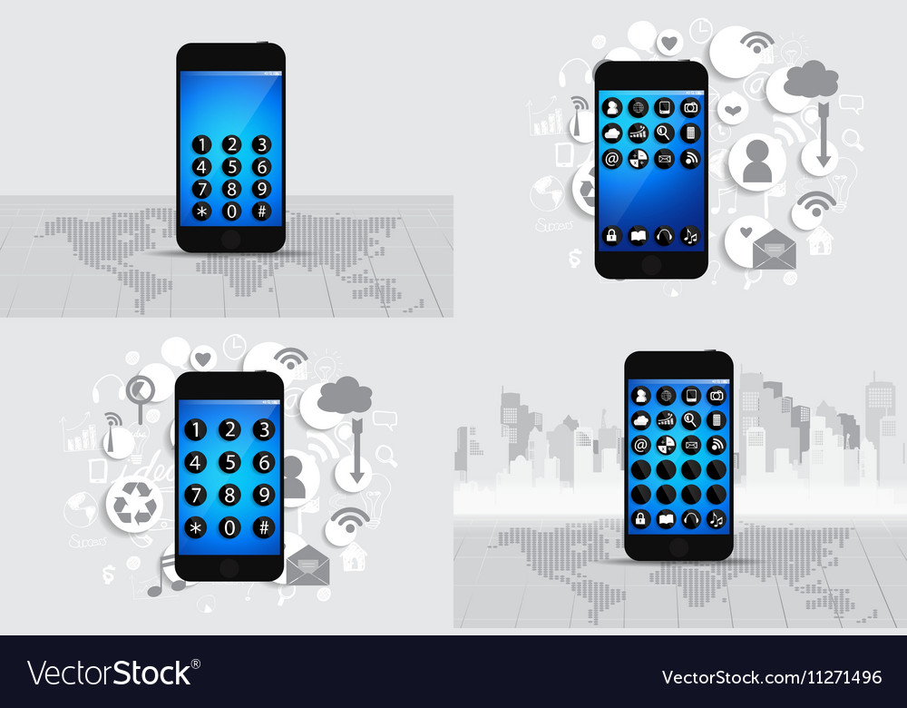 Touchscreen device with cloud of application icons vector image