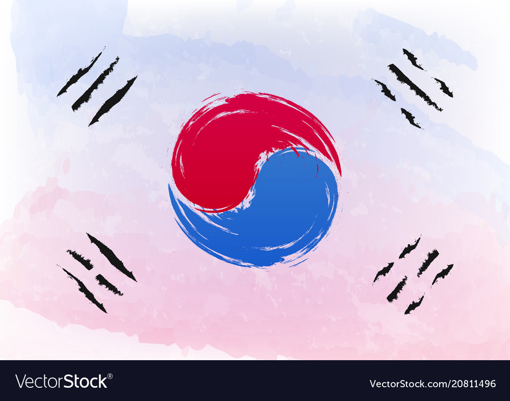 Watercolor brush flag of south korea officially