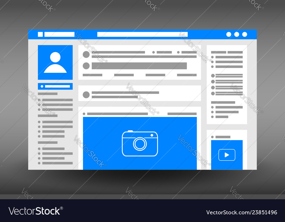 Web page user interface template social network