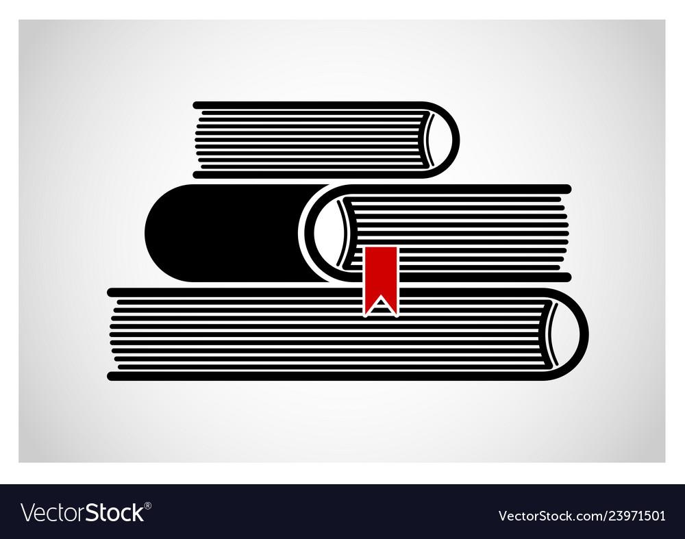 A stack stacked books logo or emblem black
