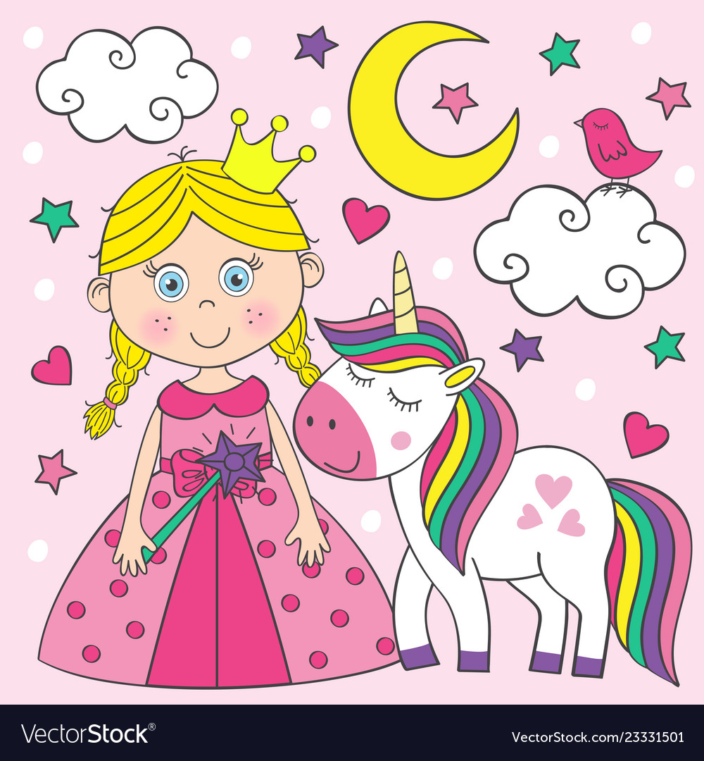Beautiful little princess with unicorn