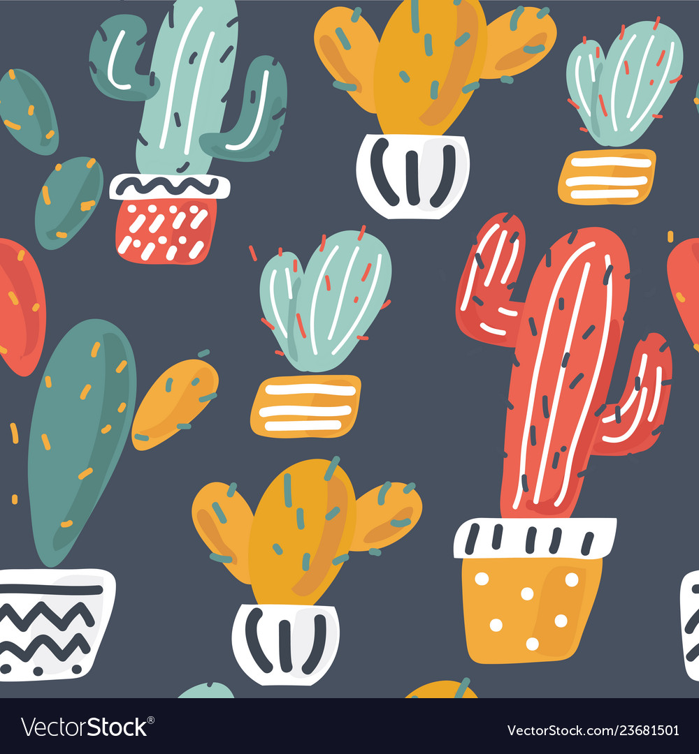 Cactuses hand drawn background