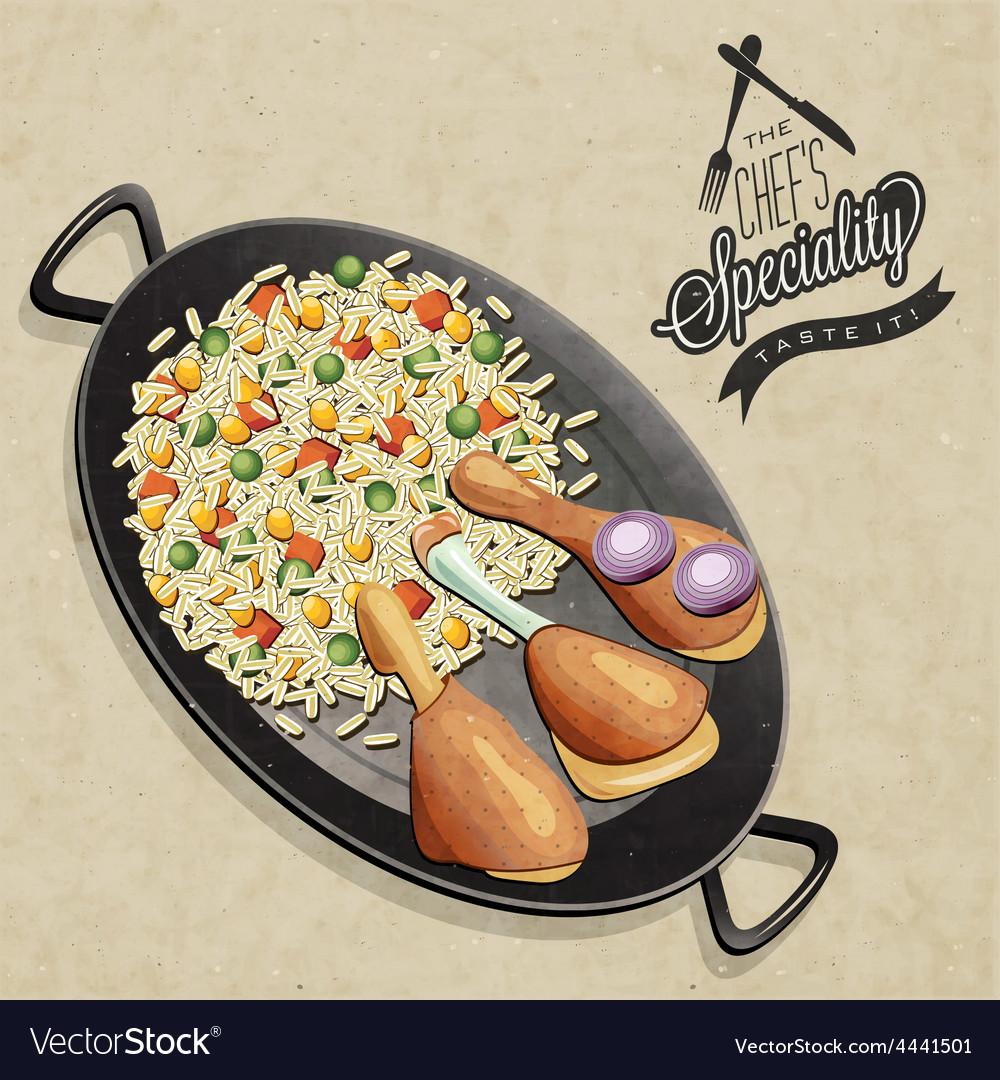 Chicken paella dish