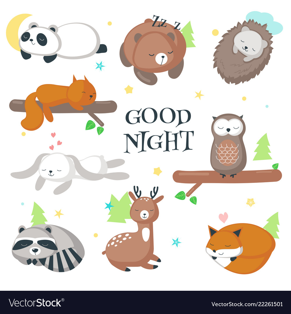 Cute sleeping wild animals icon set
